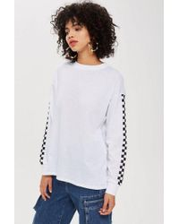 TOPSHOP - Petite Checkerboard Tunic T-shirt - Lyst
