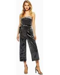 40db20b563b7 Lyst - TOPSHOP Petite Horn Button Jumpsuit in Black