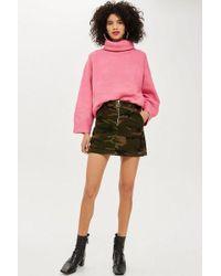 TOPSHOP - Petite Camouflage Corduroy Skirt - Lyst