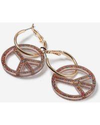 TOPSHOP - Glitter Peach Hoop Earrings - Lyst
