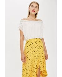 d2cb68a809ad0 Lyst - TOPSHOP Embroidered Frill Bardot Top in White
