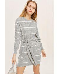 TOPSHOP - Stripe Cut And Sew Mini Dress - Lyst