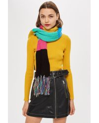 TOPSHOP - Stripe Ribbed Scarf - Lyst