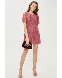 TOPSHOP - Petite Velvet Trim Lace Flippy Dress - Lyst