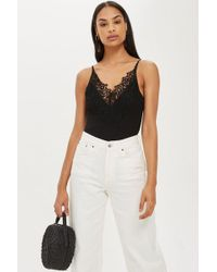Lyst - Topshop Tall Lace Mesh Panel Body in Black 37fe52001
