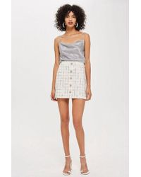 TOPSHOP - Crystal Trim Boucle Mini Skirt - Lyst