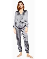 TOPSHOP - Grey Satin Striped Pyjama Trousers - Lyst