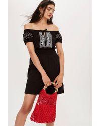TOPSHOP - Spot Embroidered Bardot Dress - Lyst
