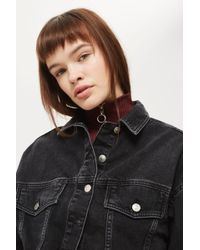 TOPSHOP - Moto Hacked Off Cropped Denim Jacket - Lyst