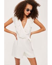 TOPSHOP - Broderie Playsuit - Lyst