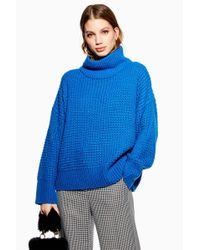 1e2a71f82ead Lyst - Topshop Tall Oversized Rib Knit Funnel Neck Jumper in Gray