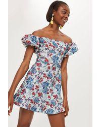 TOPSHOP - Metallic Floral Jacquard Mini Dress - Lyst