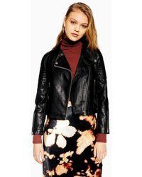 TOPSHOP - Petite Black Pu Leather Biker Jacket - Lyst