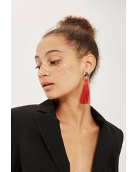 TOPSHOP - Stud Tassel Drop Earrings - Lyst
