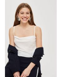 TOPSHOP - Ivory Cowl Neck Camisole Top - Lyst
