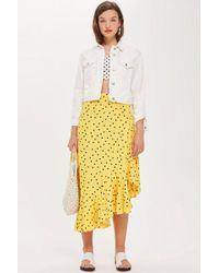 TOPSHOP - Polka Dot Asymmetric Skirt - Lyst