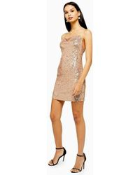 1b2f4d0ed47df TOPSHOP '80s Sequin Roll Neck Dress in Red - Lyst