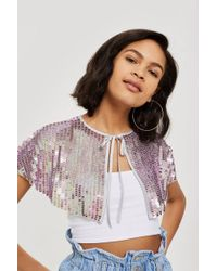 TOPSHOP - Festival Sequin Shoulder Cape - Lyst