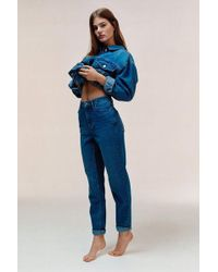 TOPSHOP - Mid Blue Mom Jeans - Lyst