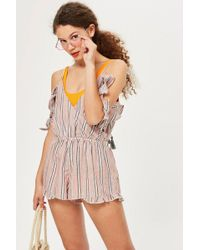 TOPSHOP - Stripe Cold Shoulder Playsuit - Lyst