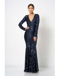 Club L - Navy Sequin Embellished Maxi Dress By - Lyst