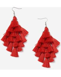 TOPSHOP - Red Multi-tassel Chandelier Earrings - Lyst