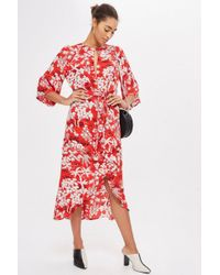 TOPSHOP - Oriental Fern Knot Front Dress - Lyst