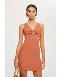 TOPSHOP - Ring Plunge Mini Bodycon Dress - Lyst