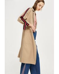 TOPSHOP - Side Stripe Trench Coat - Lyst