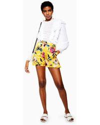 TOPSHOP - Floral Shorts - Lyst