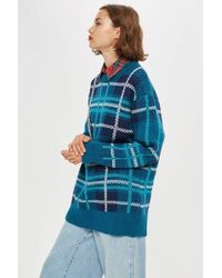 TOPSHOP - Oversized Check Jumper - Lyst