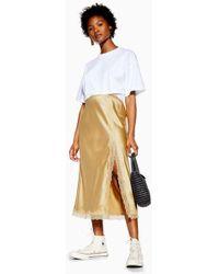2ac0e11c1d TOPSHOP - Petite Gold Lace Trim Bias Satin Skirt - Lyst