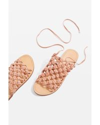 TOPSHOP | Friday Woven Lace Up Sandals | Lyst