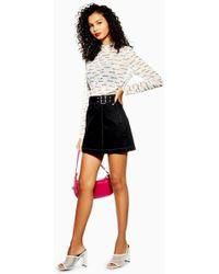 b292ff0e91 TOPSHOP Black Pleated Mini Skirt in Black - Lyst