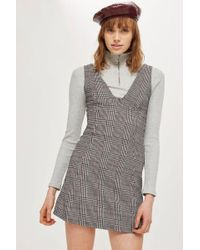 TOPSHOP - Petite Checked A-line Pinafore Dress - Lyst