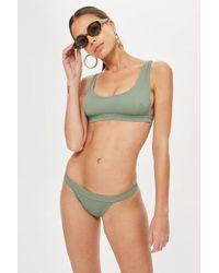 TOPSHOP - Ribbed Bikini Crop Top - Lyst