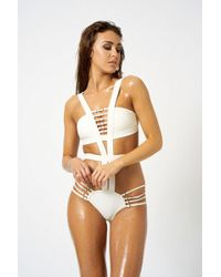Club L - White Strappy Swimsuit By London - Lyst