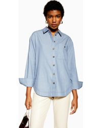 bb815051a0b TOPSHOP Maternity Crinkle Oversized Shirt in White - Lyst