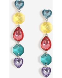 TOPSHOP - multi Heart And Stone Drop Earrings - Lyst