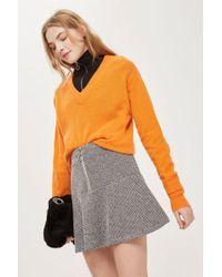TOPSHOP - Salt And Pepper Peplum Hem Mini Skirt - Lyst