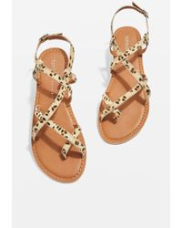 TOPSHOP - Wide Fit Hiccup Strappy Leopard Sandals - Lyst