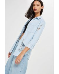 TOPSHOP - Bleach Oversized Denim Shirt - Lyst