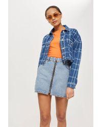 TOPSHOP - Zip Through Denim Skirt - Lyst