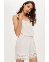 TOPSHOP - Cotton And Lace Romper - Lyst
