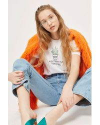 TOPSHOP - Petite 'aloe' Embroidered T-shirt - Lyst