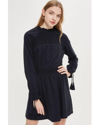 TOPSHOP - Shirred Smock Dress - Lyst