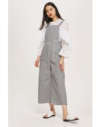 TOPSHOP - Gingham Denim Jumpsuit - Lyst