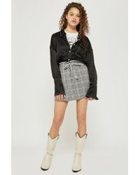 TOPSHOP - Petite Checked Paper Bag Skirt - Lyst