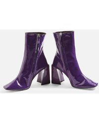 TOPSHOP - Harp Patent Ankle Boots - Lyst