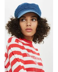 TOPSHOP - Denim Baker Boy Hat - Lyst